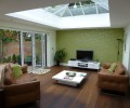 house extension idea: living room with glass roof