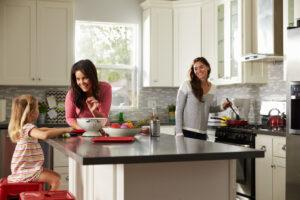 happy family in a revamped kitchen